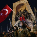 People demonstrate in front of the Republic Monument at the Taksim Square in Istanbul, Turkey, July 16, 2016.   REUTERS/Murad Sezer - RTSI7JF